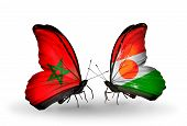 Two Butterflies With Flags On Wings As Symbol Of Relations Morocco And Niger