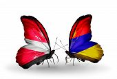 Two Butterflies With Flags On Wings As Symbol Of Relations Latvia And Armenia