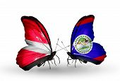 Two Butterflies With Flags On Wings As Symbol Of Relations Latvia And Belize