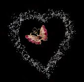 Butterfly In Heart From Sugar In Black Background