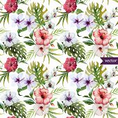 watercolor, hibiscus, orchid, white, palm, tropical, pattern, background, wallpaper