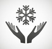 Two Hands Offering A Snow Flake