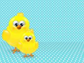 Easter Chicks Over Dotted Background With Place For Text