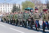 Group of cossacks march on parade