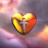 Holy Cross in golden heart