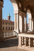foto of vicenza  - Perspective of the columns of the Basilica palladiana in Vicenza and St - JPG