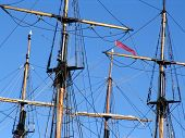 stock photo of yardarm  - Set of masts on sailing ship - JPG