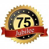 Jubilee Button With Banners - 75 Years