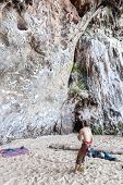 Rock Climbers On Railay Beach.