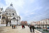 People Sightseeing Santa Maria Della Salute In Venice