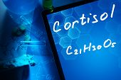 picture of formulas  - Tablet with the chemical formula of cortisol - JPG