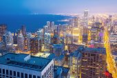 Aerial view of Chicago City downtown at dusk USA