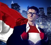 Businessman Superhero Country Indonesia Flag Culture Power Concept