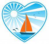 Sea, Sun And Sailboat In Heart
