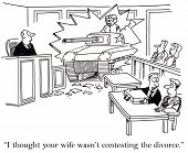 pic of wifes  - Cartoon of woman driving tank through courtroom wall - JPG