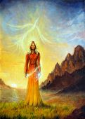 stock photo of canvas  - A beautiful painting oil on canvas of an enchanting mystical priestess in orange gown with a sword of light in a landscape bearing a shining sign up on the sky - JPG