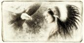 Vintage  Beautiful Airbrush Painting Of A Young Indian Woman Wearing A Gorgeous Feather Headdress, W