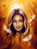 image of fairy  - beautiful oil painting of a enchanting spring fairy goddess woman with flower - JPG