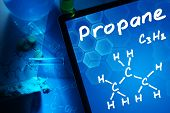 Tablet with the chemical formula of Propane.