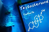 image of formulas  - Tablet with the chemical formula of testosterone - JPG