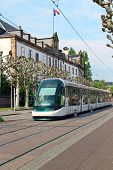 pic of tram  - Tram in the center of Strasbourg, Alsace, France ** Note: Visible grain at 100%, best at smaller sizes - JPG