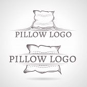 Abstract vector illustration of pillow icon with text