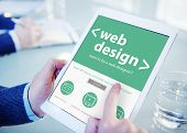 Businessman Web Design Digital Devices Searching Concept