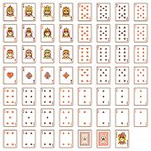 Set of the simple playing cards
