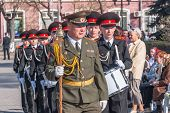 Military cadet orchestra on Victory Day parade