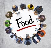 image of starving  - Multiethnic Group of Business People with Food Concept - JPG