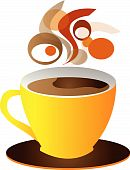 pic of coffee-cup  - vector cup of coffe isolated over white background - JPG