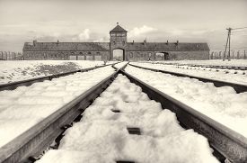 stock photo of auschwitz  - The Auschwitz-Birkenau State Museum in the state of Polland