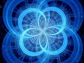 stock photo of higgs boson  - Blue glowing circles higgs boson computer generated abstract background - JPG