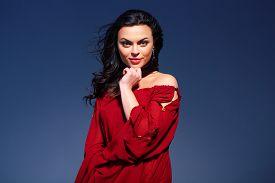 image of marsala  - Beauty in marsala dress - JPG