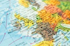 foto of irish  - Ireland close-up macro image of Irish map . Selective focus on Dublin ** Note: Shallow depth of field - JPG