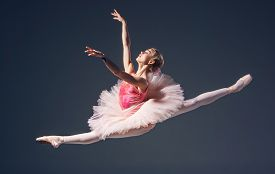 picture of ballerina  - Beautiful female ballet dancer on a grey background - JPG