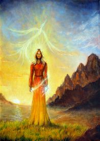 stock photo of wicca  - A beautiful painting oil on canvas of an enchanting mystical priestess in orange gown with a sword of light in a landscape bearing a shining sign up on the sky - JPG