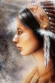 image of airbrush  - airbrush painting of a young indian woman tribal - JPG