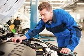 picture of concentration man  - Concentrated young man in uniform repairing car while standing in workshop - JPG