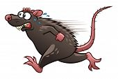 stock photo of rats  - Cartoon scared rat escapes from something - JPG