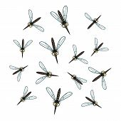 stock photo of gnats  - A flock of cartoon mosquito isolated on the white background - JPG
