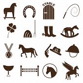 picture of winged-horse  - brown simple horse theme icons set eps10 - JPG