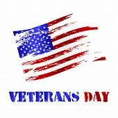 stock photo of veterans  - american damaged flag and veterans day celebration eps10 - JPG