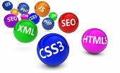 stock photo of bouncing  - Webdesign Internet and SEO concept with programming language sign on colorful bouncing spheres on white background - JPG