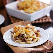 image of shredded cheese  - plate of baked macaroni and cheese casserole with barbecue pulled pork - JPG