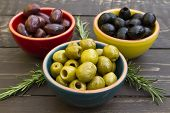 picture of kalamata olives  - A selection of three different types of olives - JPG