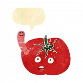 stock photo of worm  - cartoon tomato with worm with speech bubble - JPG