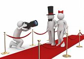 Red carpet. Celebrities and photographer.