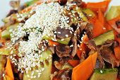 foto of chinese parsley  - steamed vegetables and meat with sesame - JPG