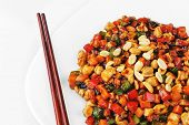 stock photo of chinese parsley  - steamed vegetables and meat with peanut on plate - JPG